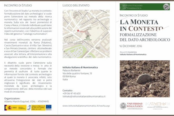 "El grupo ATAEMHIS participará en el Incontro di Studi: ""La moneta in contesto: formalizzazione del dato archeologico"""